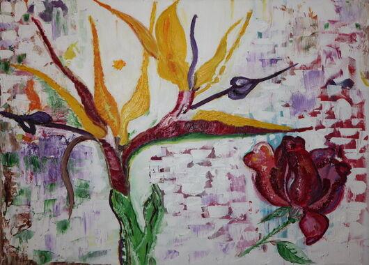 Astra flower oil paint ORAHART Israeli painter – Swetlana Zakharyan