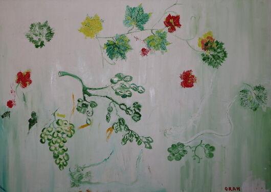 Grape leaves oil paint ORAHART Israeli painter – Swetlana Zakharyan