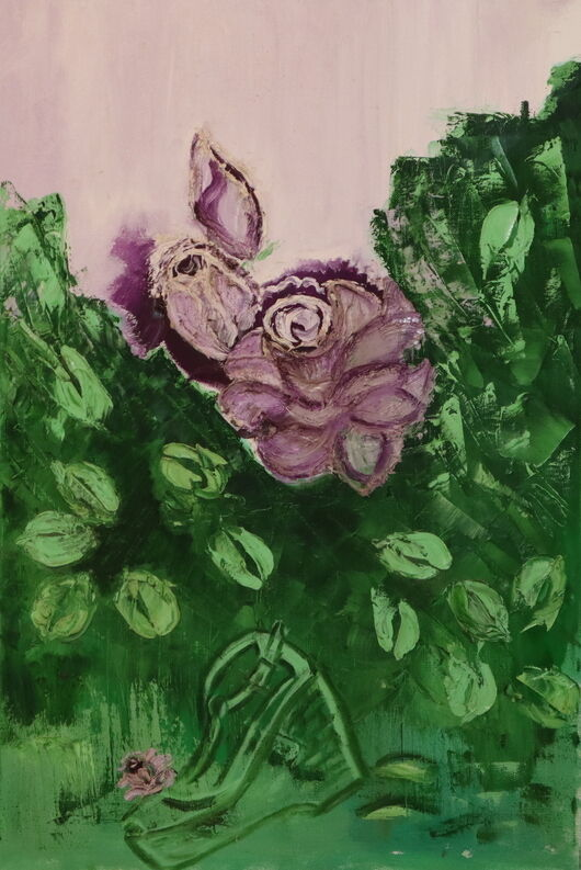 Purple flower oil paint ORAHART Israeli painter – Swetlana Zakharyan