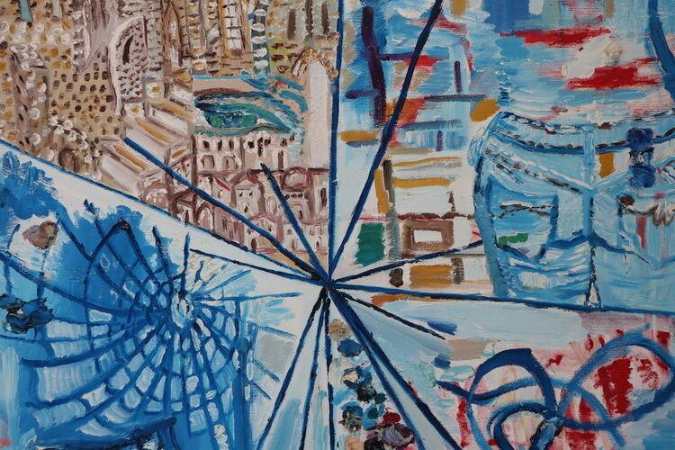 orahart abstract 13 oil painting Israeli art